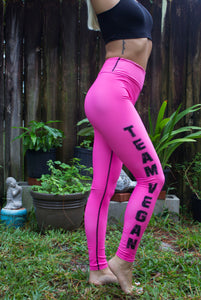 Team Vegan Yoga Leggings Hot Pink Black Stitch