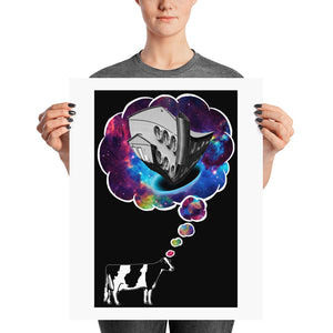 Cow Thought Print with Black Background