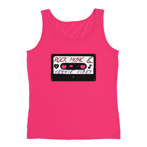 Rock Music & Veggie Vibes Ladies' Tank Top Pink