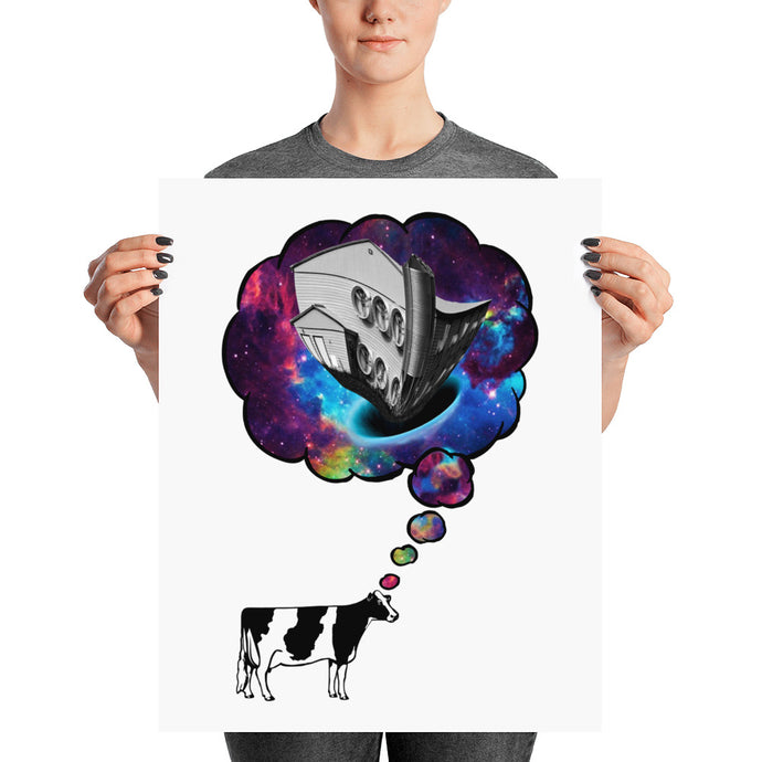 Cow Thought Print White Background