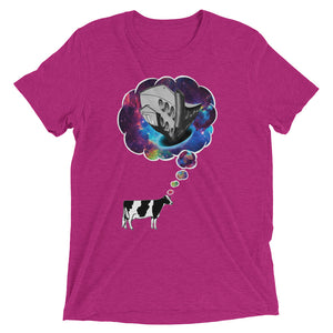 Women's Cow Thought T-shirt Berry Triblend