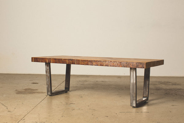 Coffee Table With Square Steel Legs Reclaiming Iowa