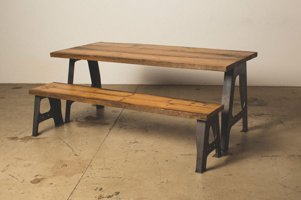 Dining Table with A Frame Legs and Matching Bench