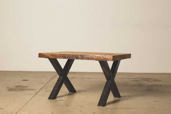 "Coffee Table with Steel ""X"" Legs"