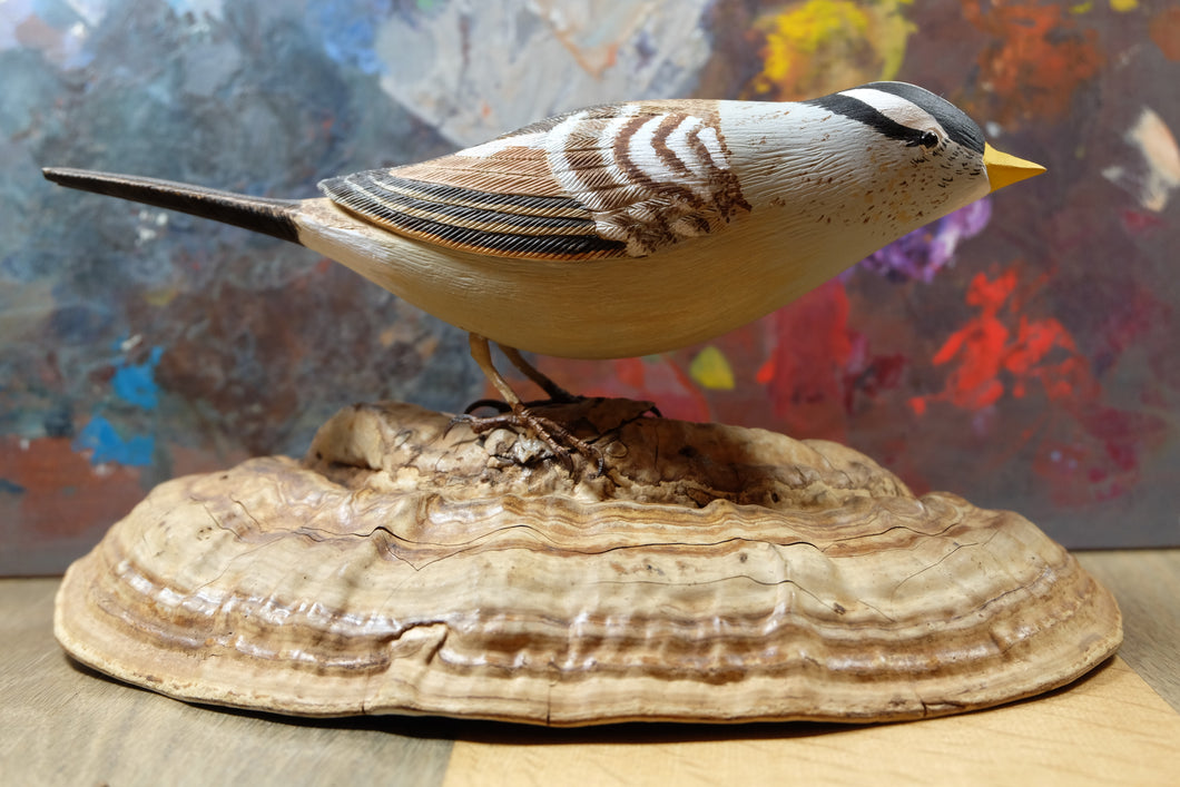 White Crowned Sparrow - Handcrafted Wooden Bird