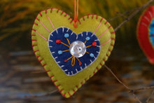 Embroidered Felt Hearts by Monica