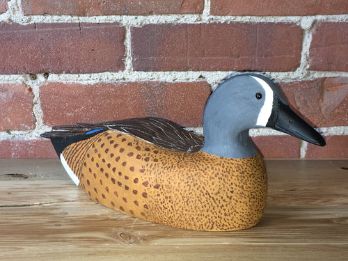 Blue-Winged Teal Drake - Handcrafted Wooden Bird