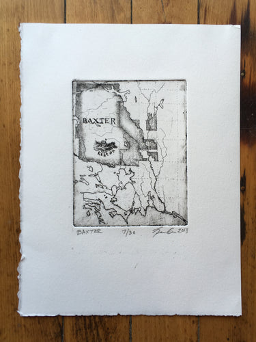 Map of Baxter State Park - Copper Plate Etching