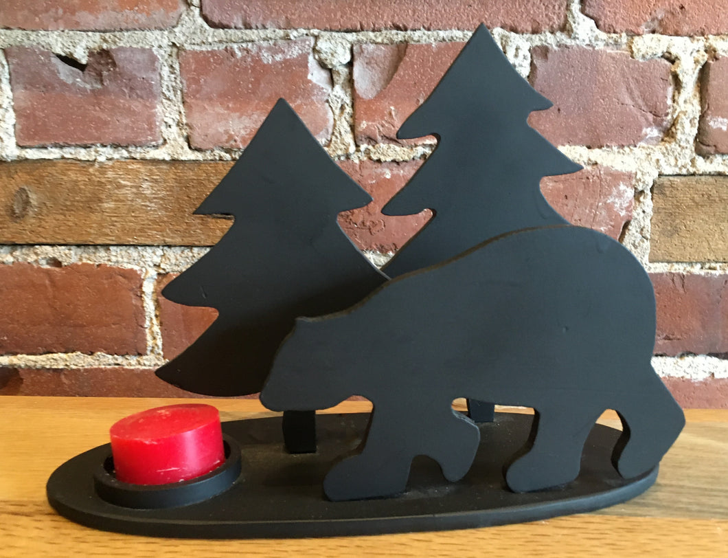 Bear and Pine Tree - Steel Candle Holder