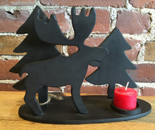 Bull Moose and Pine Tree - Steel Candle Holder