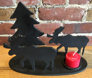 Two Moose and Pine Tree - Steel Candle Holder