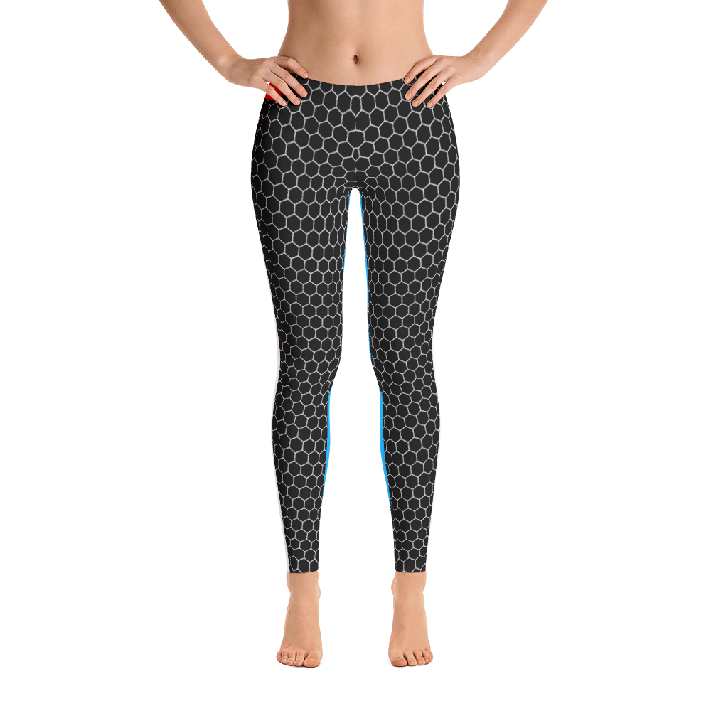 HXG Collection Blue Workout Leggings - Front