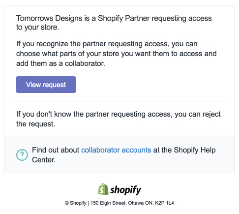 Shopify Collaborative Account Request Email