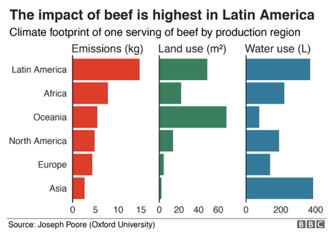 Carbon Emissions Beef by Production Region RePrint Footprint Tracker