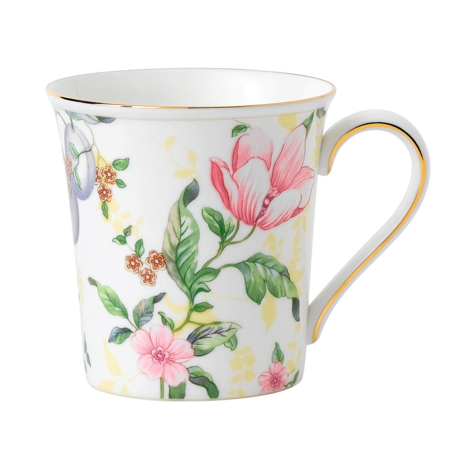 Sweet Plum Damask Mug Delphi White