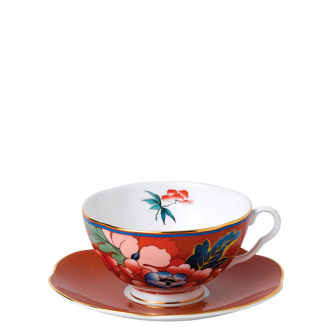 Paeonia Blush Teacup & Saucer Red
