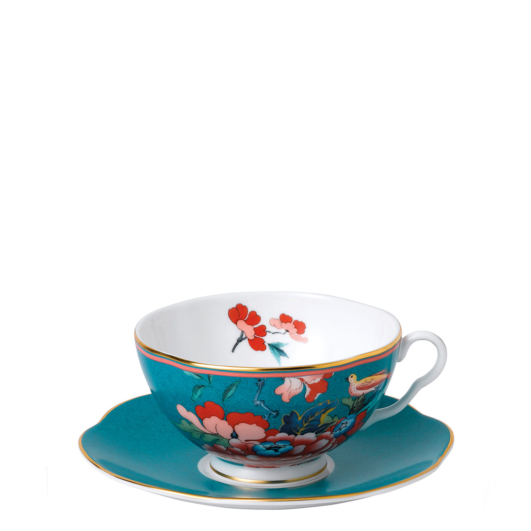 Paeonia Blush Teacup & Saucer Green