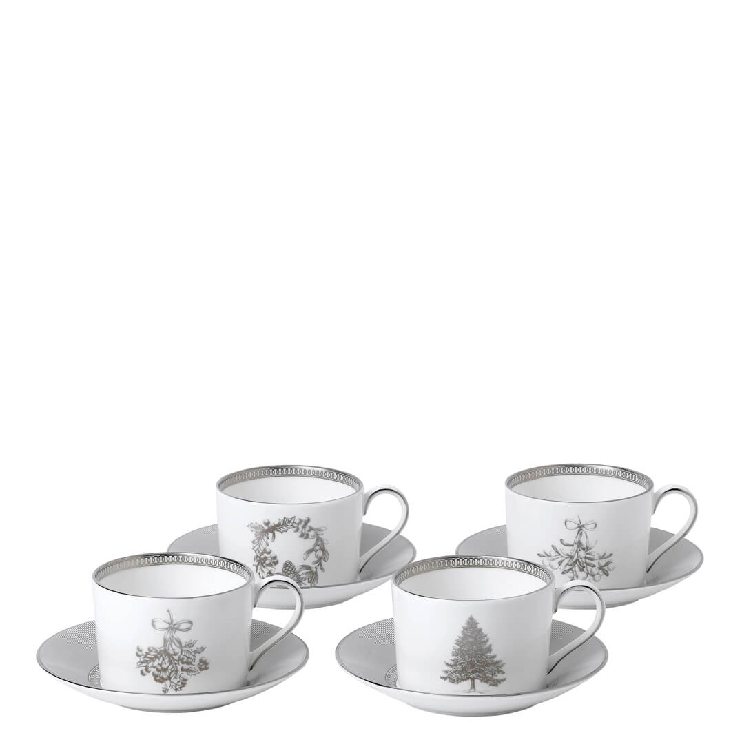 Winter White Teacups & Saucers (Set Of 4)