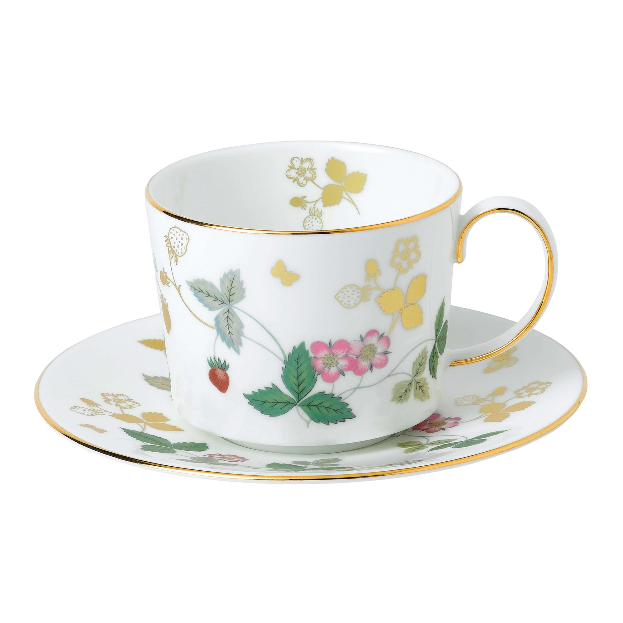 Wild Strawberry Gold Tea Cup & Saucer
