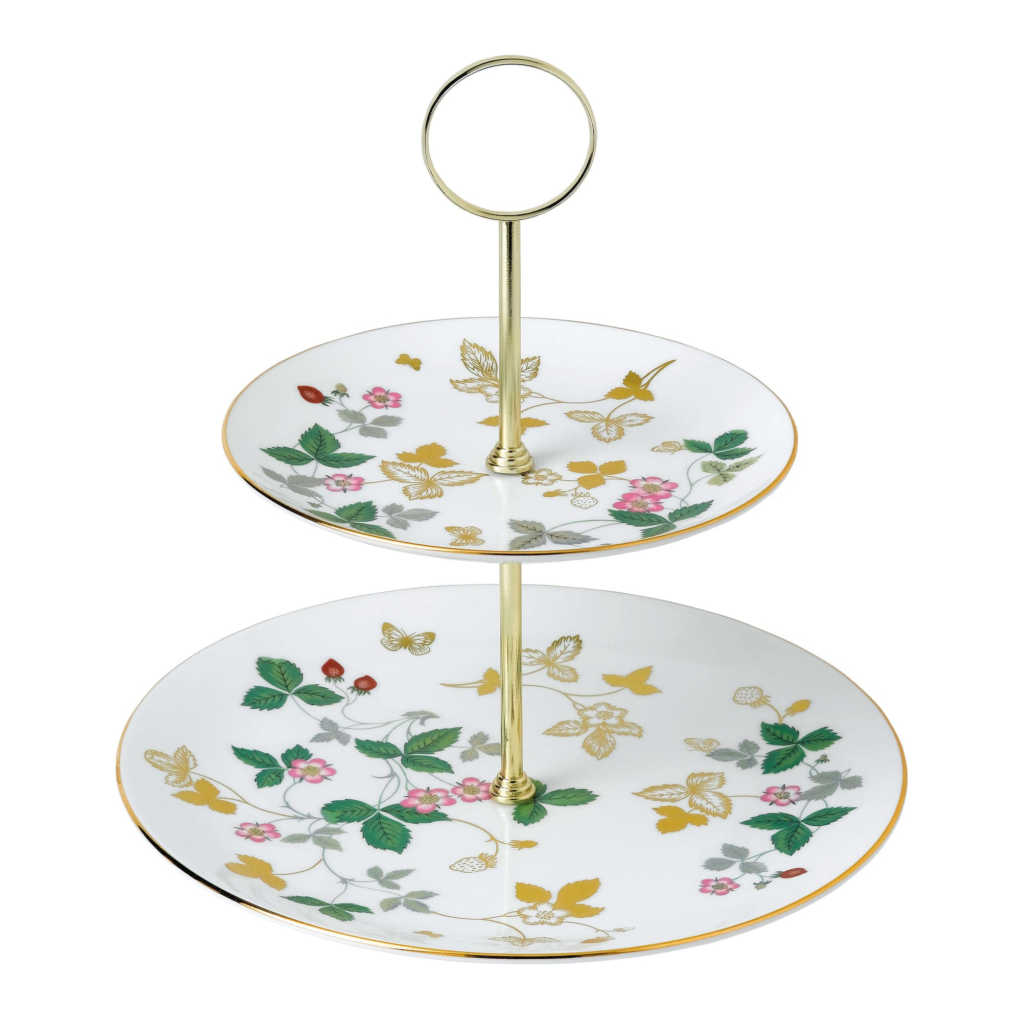 Wild Strawberry Gold Two-Tier Cake Stand