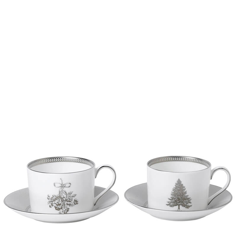 Winter White Teacups & Saucers (Set Of 2)