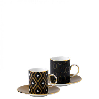 Arris Espresso Cup and Saucer Pair (Geometric/ Honeycomb)