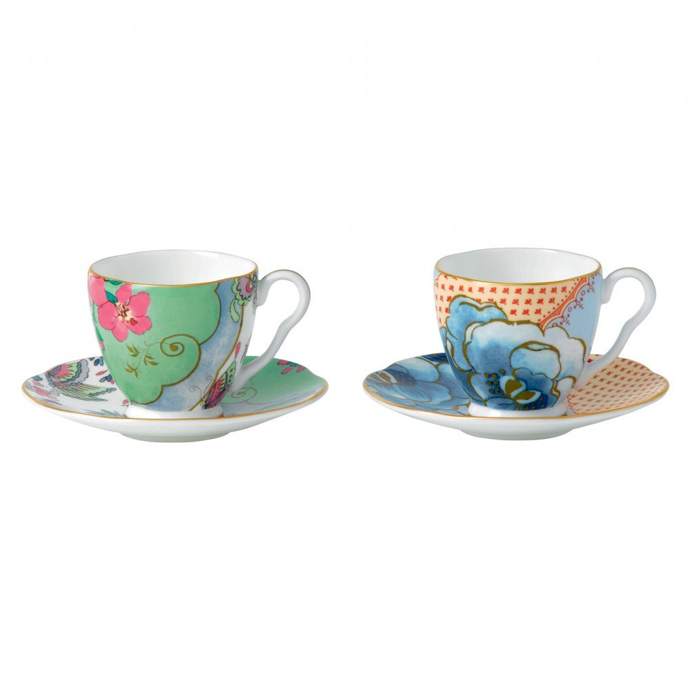 Butterfly Bloom Espresso Cup and Saucer (Set of 2)
