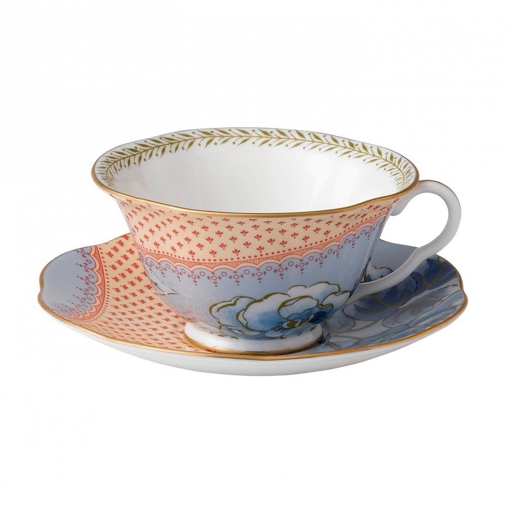 Butterfly Bloom Teacup and Saucer Blue