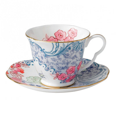 Butterfly Bloom Teacup and Saucer Blue and Pink