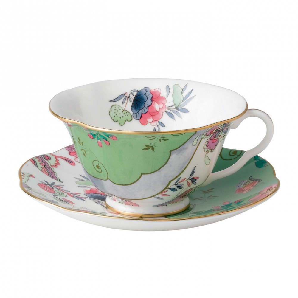 Butterfly Bloom Teacup and Saucer Green
