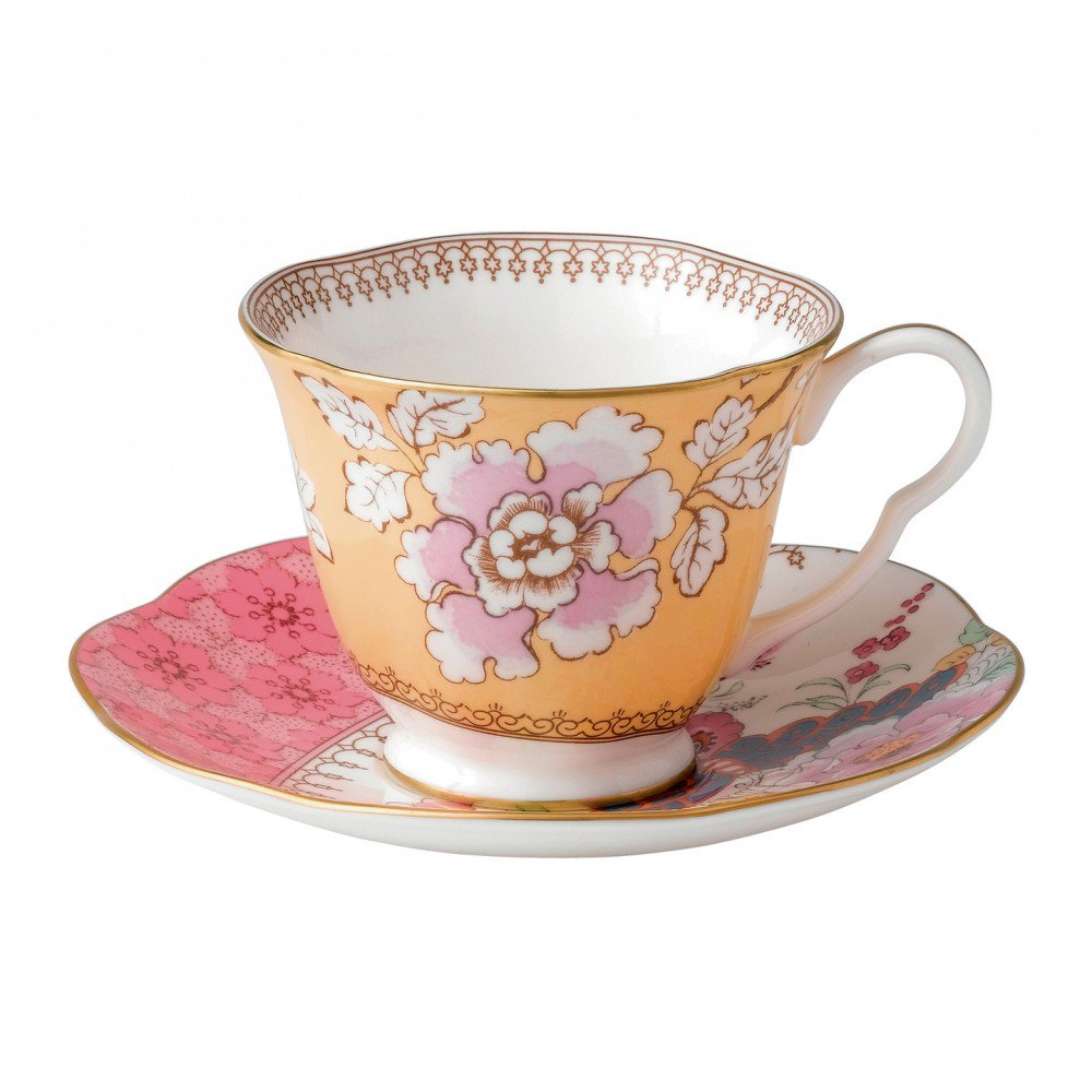 Butterfly Bloom Teacup and Saucer Yellow