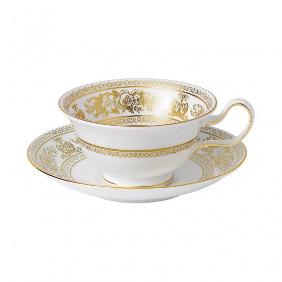 Gold Columbia Peony Cup And Saucer