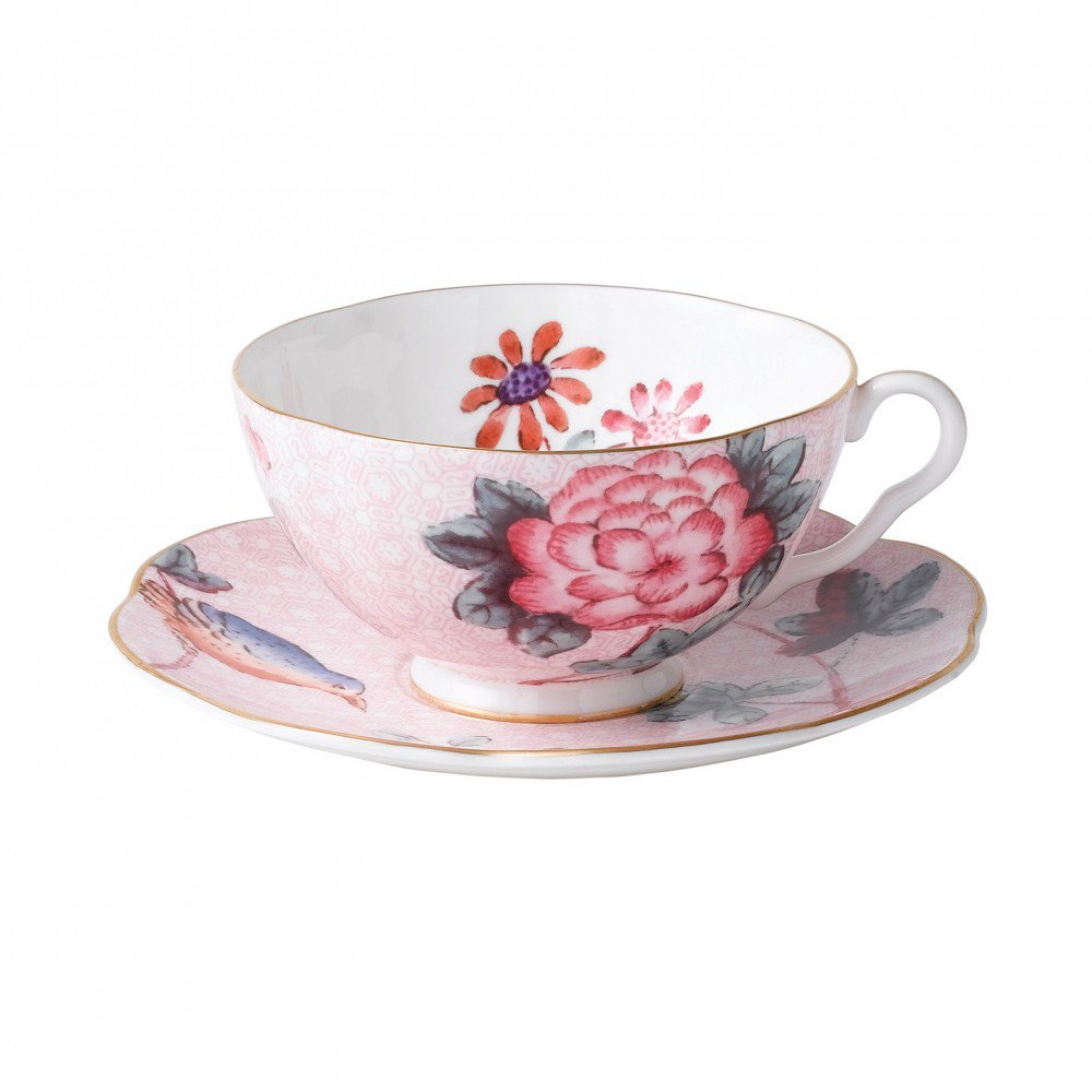 Cuckoo Teacup and Saucer Pink