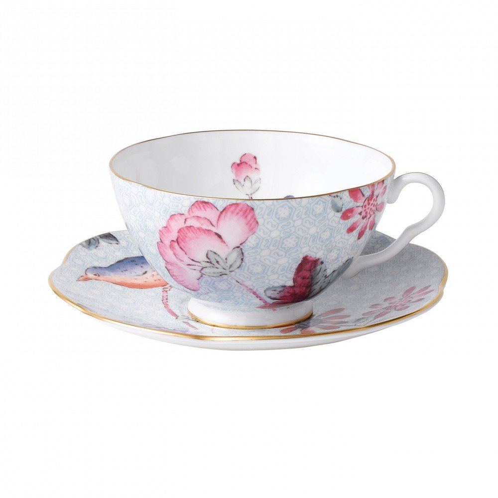 Cuckoo Teacup and Saucer Blue