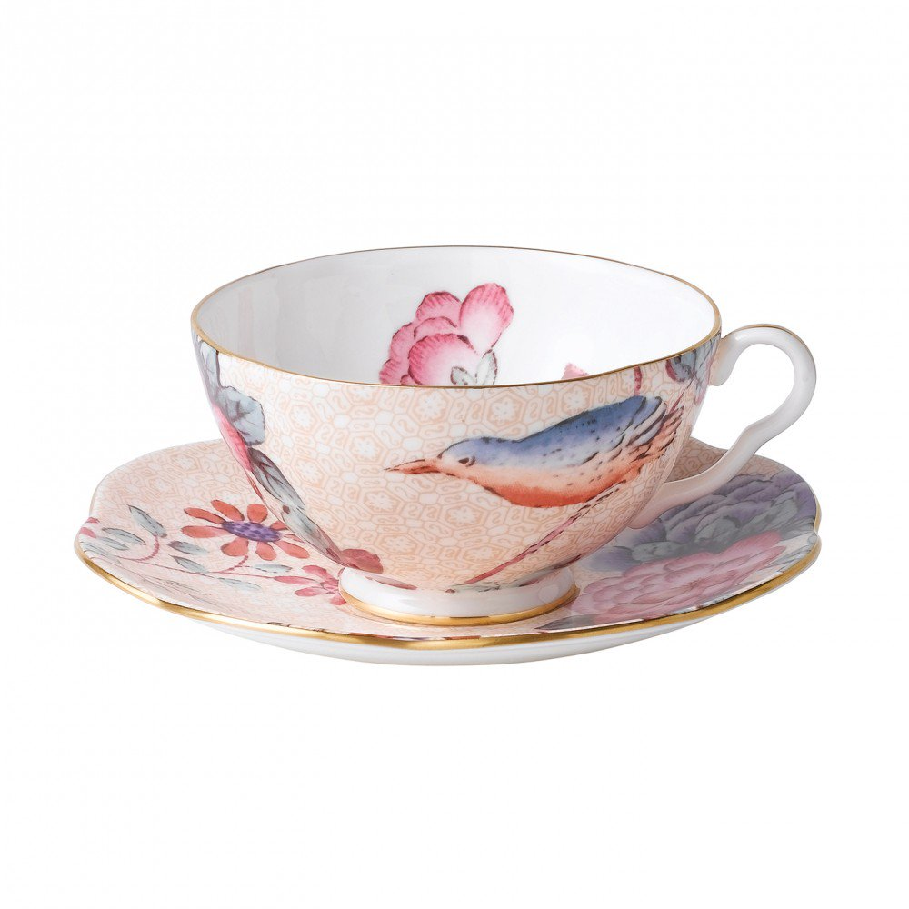 Cuckoo Teacup and Saucer Peach