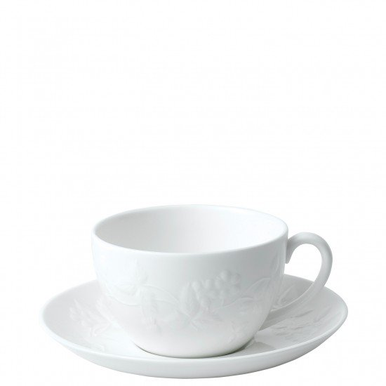 Wild Strawberry White Teacup And Saucer, Gift Boxed