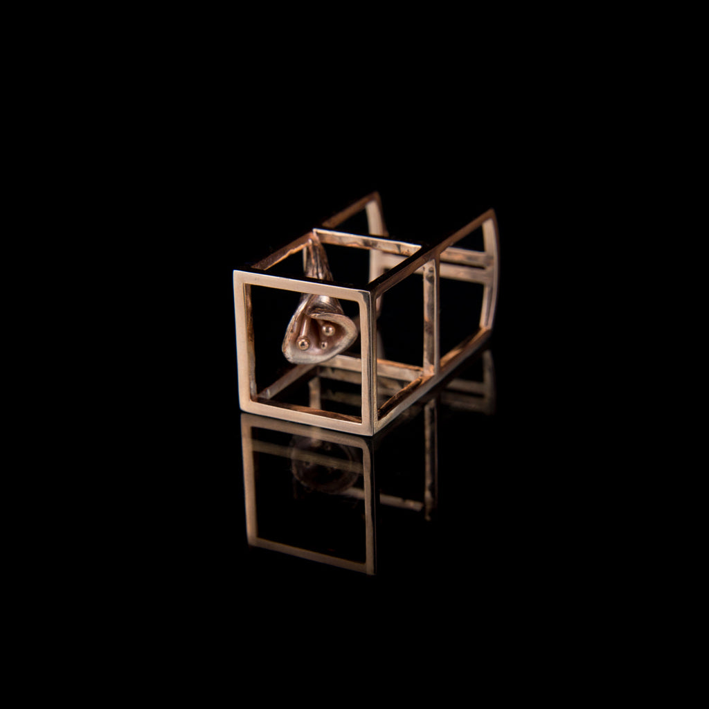 Designer Bold Statement Ring in 18K Rose Gold Vermeil illustrates Cube and calla Lilly