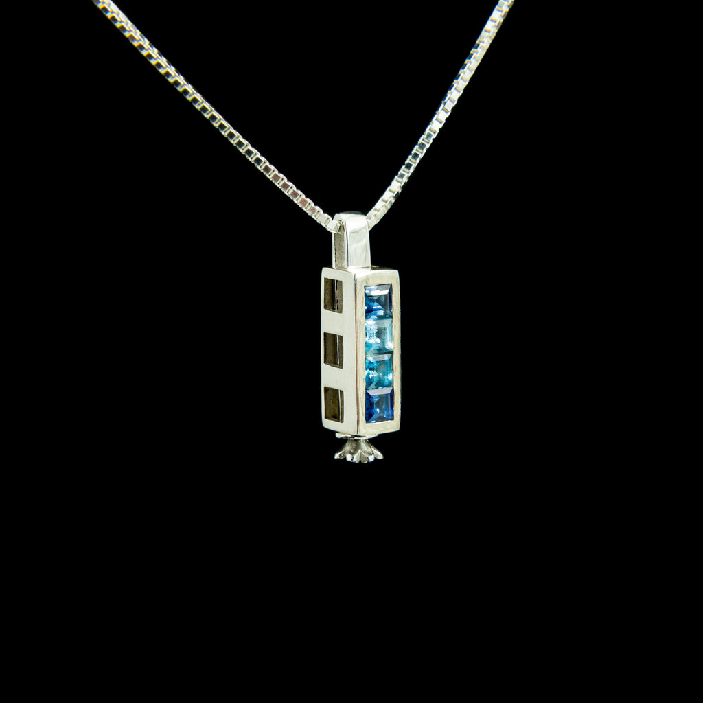 Triple Morphic Block Pendant with Sapphire and Aquamarine and square base column