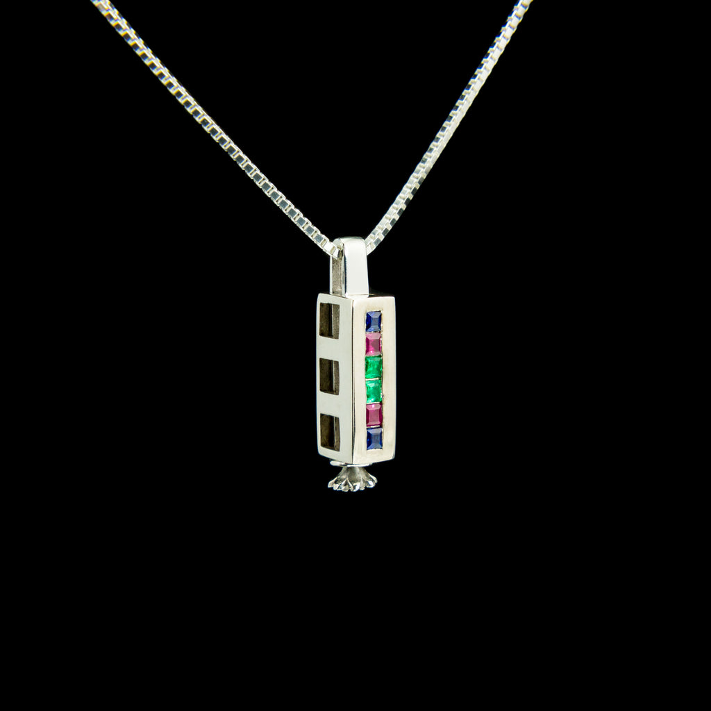 Triple Morphic Block Pendant with Sapphires, Rubies and Emeralds and floral base column