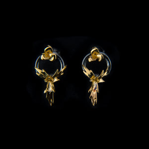 Designer Geometric Earrings with Flowers in 9K Gold and Black Rhodium