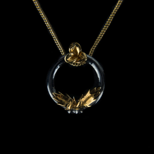 Designer Pendant in 9K Gold| black rhodium plated ring with a Flower and Leaves