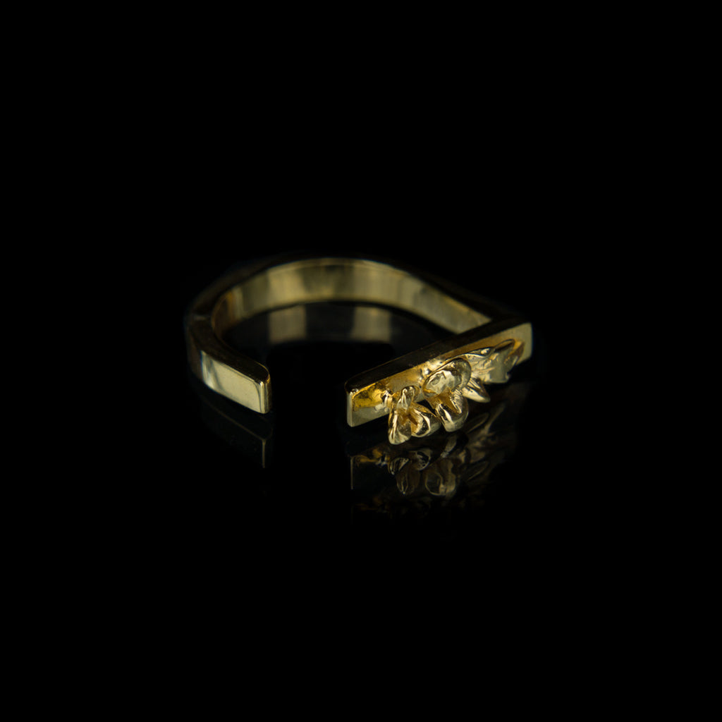 Geometric Designer Ring in 9K Gold with Flowers