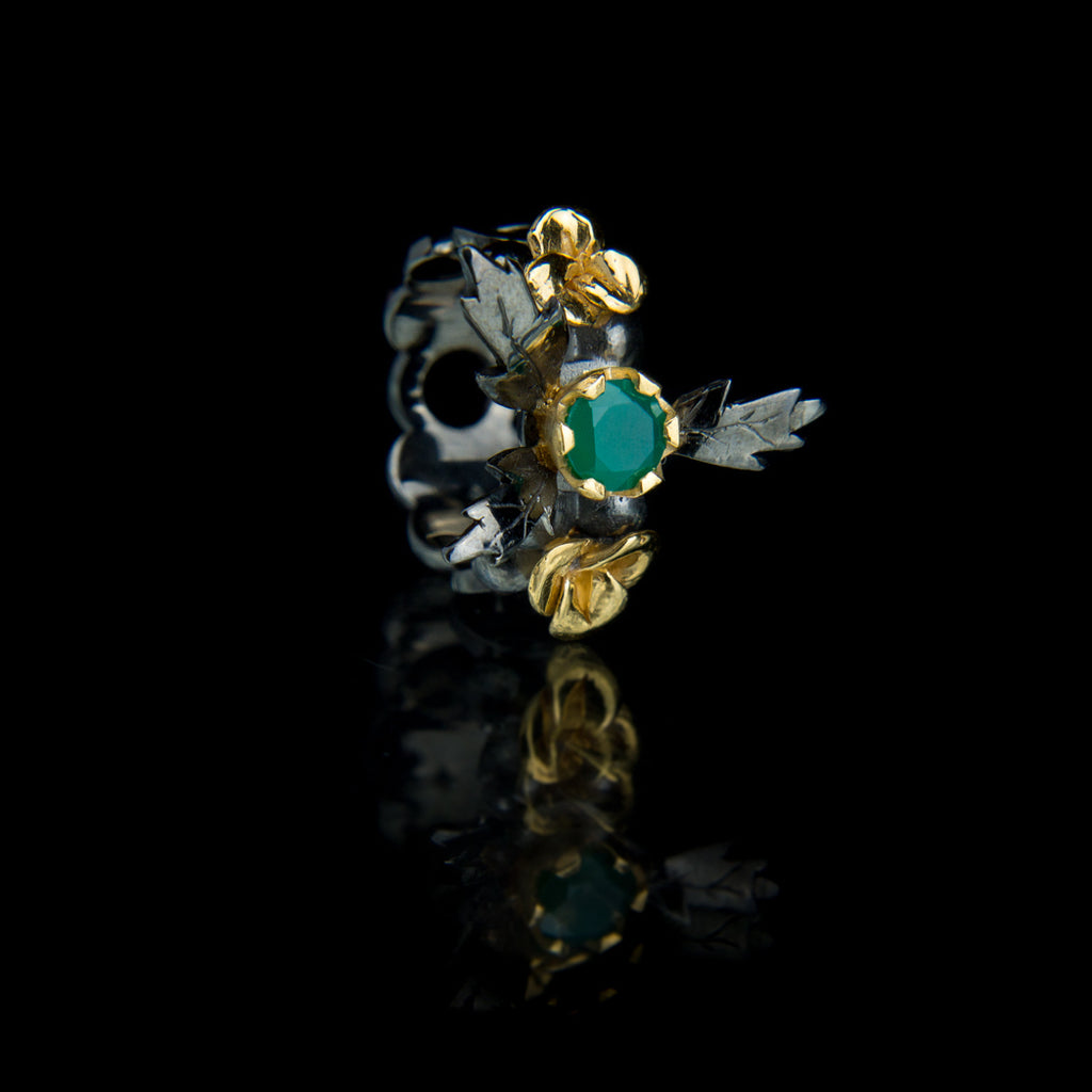 Designer Black and Gold Vermeil Statement Ring with Green Onyx