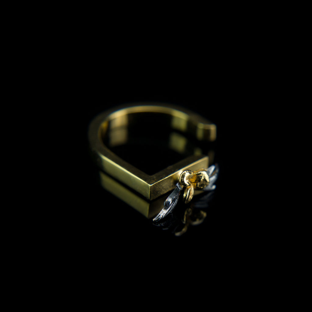 Geometric Designer Ring in 9K Gold| Flower & Black Leaves