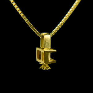 Gold Customised Font Morphic Block Pendant with floral base column