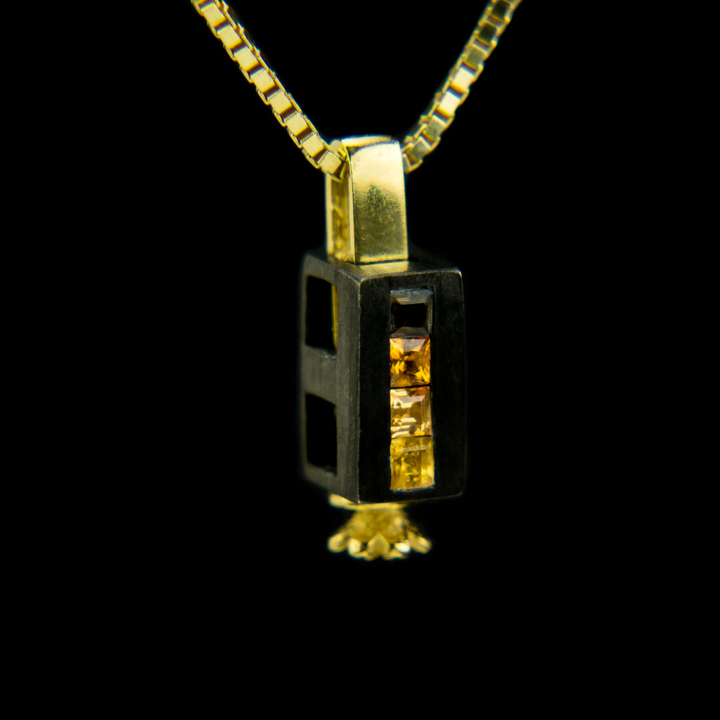 Double Morphic Block Pendant with Orange Tone gemstones and floral base column