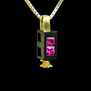 Double Morphic Block Pendant with Pink Tourmalines and Floral base column