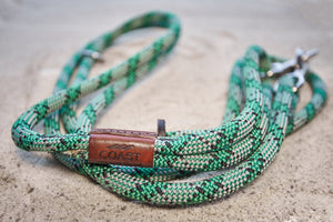 Kelly Green, Grey and Black Rope Leash