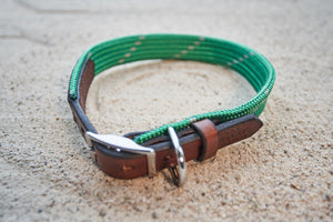 Kelly Green with Grey Rope & Leather Collar