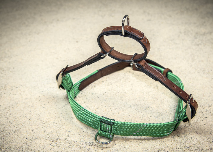 Green with Grey Rope & Leather Harness